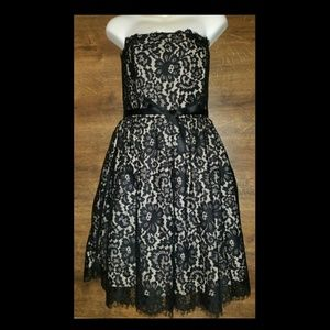 NWT Robert Rodriguez Black Lace Strapless Dress